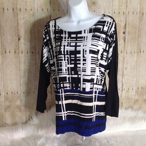 Chico's 3/4 Sleeve Geometric Design Top